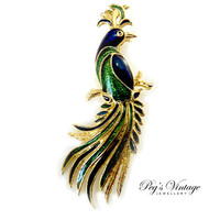 Vintage Green And Blue Enamel  BIRD BROOCH/PIN/ Peacock Vintage Gold Tone Brooch