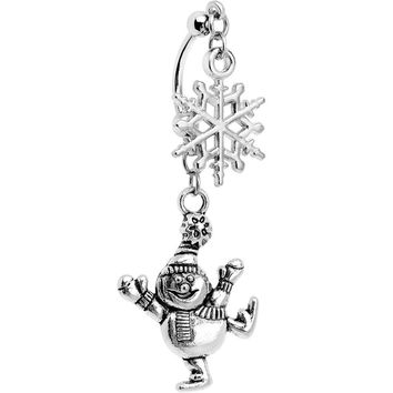 Holiday Double Mount Dancing Snowman Dangle Belly Ring