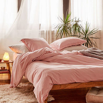 Washed Cotton Tassel Duvet Cover | Urban Outfitters