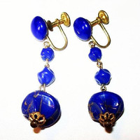 "Blue Glass Dangle Earrings Signed W Germany Gold Screw Backings 2"" Vintage"