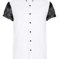 White Contrast Print Short Sleeve shirt - New This Week - New In - TOPMAN USA