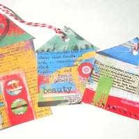 Rainbow Collage House Gift Tags Set of 6 Bright And Cheery Houses