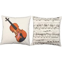 Violin Instrument Throw Pillows