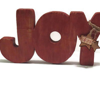Rustic Christmas Decor - JOY - in Reclaimed Wood - CIJ Sale