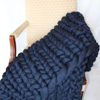 Super Chunky Knit blanket 30*55'' Merino Wool