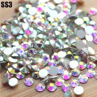 Sale! Super Shiny SS3(1.3mm)1440pcs/Bag  Clear Crystal AB color 3D Non HotFix FlatBack Nail Art Decorations Flatback Rhinestones