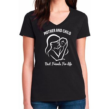 Mother and Child Best Friends For Life Womens V-Neck Cotton Tee