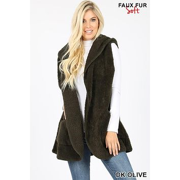 Hooded Faux Fur Cocoon Vest With Pockets in Dark Olive