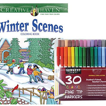 Sargent Art Classic Fine Tip Markers in a Case, Set of 30 and Dover Creative Haven Winter Scenes Coloring Book by Marty Noble (Bundle of 2)