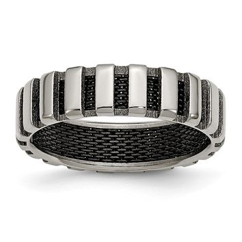 Men's Titanium & Black IP-plated Wire Polished Wedding Band Ring
