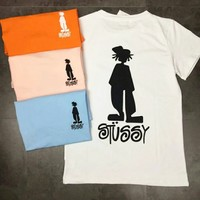 Stussy Stutsian print logo short sleeves Sports fashion casual men and women couple models Four Color