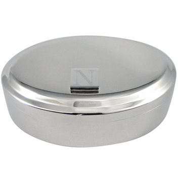 Letter N Etched Monogram Pendant Oval Trinket Jewelry Box