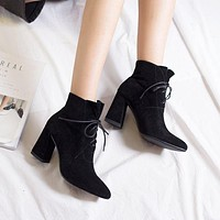 Solid Color Pointed Toe Lace Up Middle Chunky Heels Short Boots