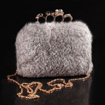 Mini Knuckle Rabbit fur clutch purse handbag