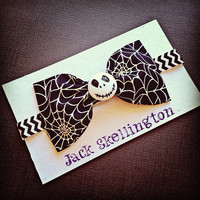 Jack Skellington nightmare before Christmas Glow in the dark web fabric bow or headband