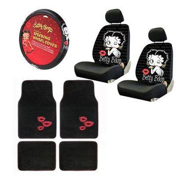Licensed Official New Betty Boop Kiss Car Front Back Floor Mats Seat Covers & Steering Wheel Cover