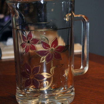Vintage Glass Pitcher-Tea Water Margarita Mojito-Italy-Hand Painted-Heavy Glass-Art Deco