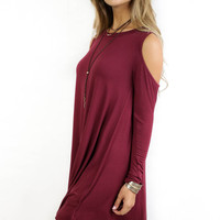 Gone Girl Burgundy Modal Cold Shoulder Dress
