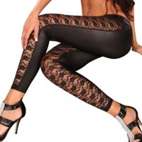 New Women Sexy Black Floral Pattern Lace Leggings Tights Pantyhose