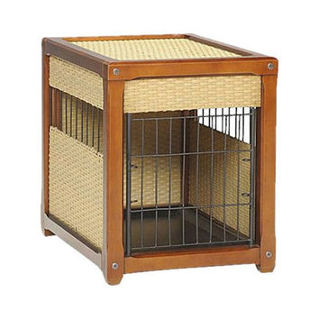 Wicker and Wood Pet Crate