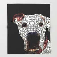 Stone Rock'd Dog 2 by Sharon Cummings Throw Blanket by Sharon Cummings | Society6