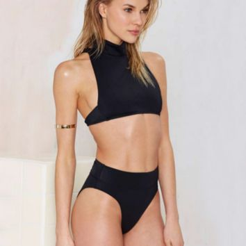 Solid color high neck swimsuit split bikini swimsuit