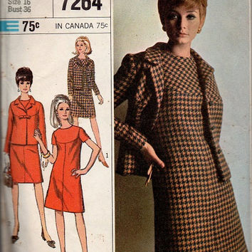 Simplicity 60s Sewing Pattern Mad Men Style Casual Business Dress Suit Jacket Blazer A-line Front Yoke Retro Bust 36