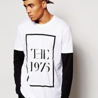 ASOS   ASOS Longline Long Sleeve T-Shirt With Double Layer And 1975 Print at ASOS