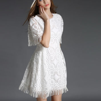 White Embroidered Sleeve Mesh Dress