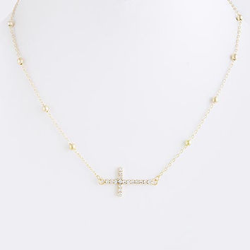 Side Cross Chain Necklace