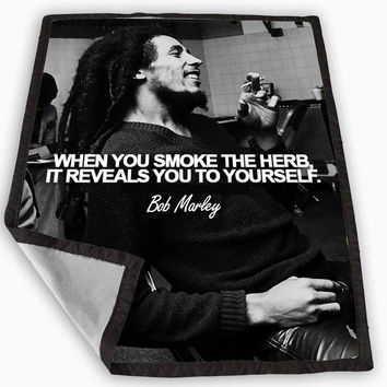 Bob Marley Smoke Quotes Blanket for Kids Blanket, Fleece Blanket Cute and Awesome Blanket for your bedding, Blanket fleece **