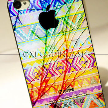 Aztec Cracked Out Broken Glass With Apple - for iPhone 4/4S case iPhone 5 case hard case hard cover