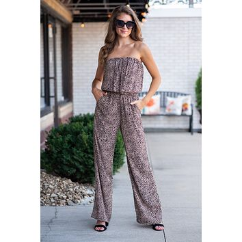 Out On The Town Leopard Print Jumpsuit : Mocha