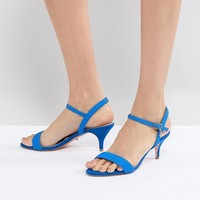 Dune Bright Blue Kitten Heel Two Part Sandal at asos.com