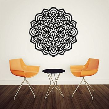 Wall Decal Vinyl Sticker Decals Art Home Decor Murals Decal Mandala Ornament Indian Geometric Moroccan Pattern Yoga Namaste Flower Lotus Flower Buddha Om Ganesh Bathroom Bedroom Dorm Decals AN51