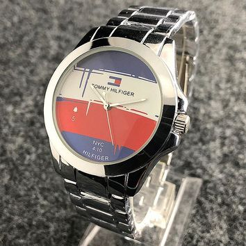 """Tommy Hilfiger"" Fashion Women Men Casual Quartz Watch Lovers Wrist Watch Silvery I-H-JH"