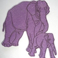 Purple Elephant Embroidered Applique Patch