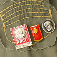 Soviet pins badges red  silver tones Lenin profile pins set of 3 propaganda badges USSR