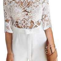 White Sexy Lace See Through Women's Fashion Winter Jumpsuit [8035748097]