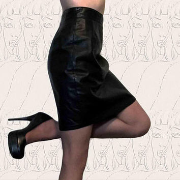 Vintage Designer VAKKO Black Genuine Leather High Waist Skirt, 90s 80s punk rock goth grunge pin up rockabilly alternative moto fashion