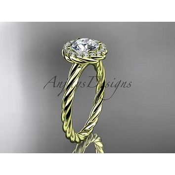 """14kt yellow gold """"Forever One"""" Moissanite rope engagement ring RP8197"""