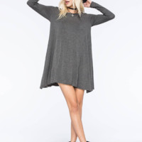 Plain Long Sleeve Loose Dress