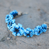 Cornflower blue bracelet FIELD FLOWERS collection by HoneyCase2