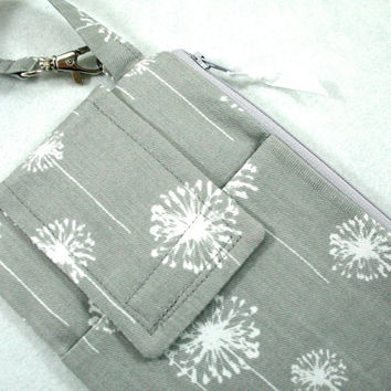 iPhone 6+ 6 5 iPhone 4 4S Samsung Galaxy Fabric Smart Phone Clutch Wristlet in Gray Dandelion