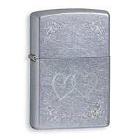 Zippo Heart To Heart Street Chrome Lighter w/Gold Etching