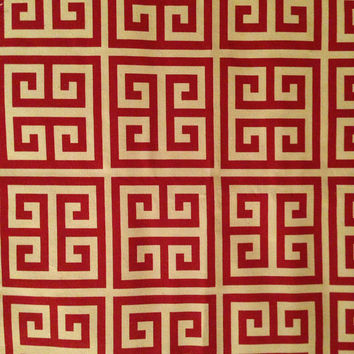Decorative-Accent Body Pillow Cover - Approx 20 X 54 inch Red and Off White Geometric Maze -Free Domestic Shipping