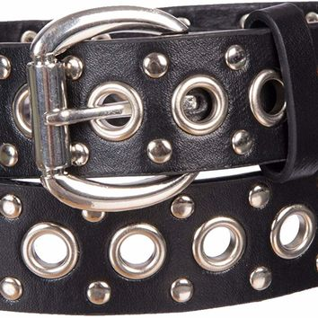 Women's Studded/Eyelet Faux Leather Belt 1 1/4 Inch Wide