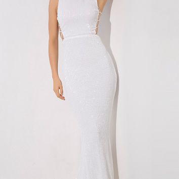 Money Maker White Sequin Sleeveless Mock Neck Cut Out Lace Up Sides Mermaid Maxi Dress