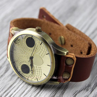 Lovely retro owl watches, brown leather watches, fashion watches, unisex watches, anniversary, valentine's day gift