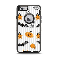 The Halloween Icons Over Gray & White Striped Surface  Apple iPhone 6 Otterbox Defender Case Skin Set